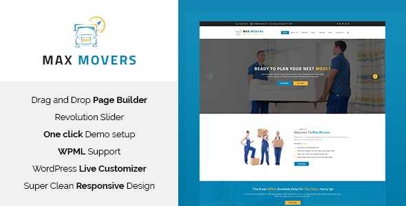 Max Movers - Moving Company WordPress Theme - Business Corporate