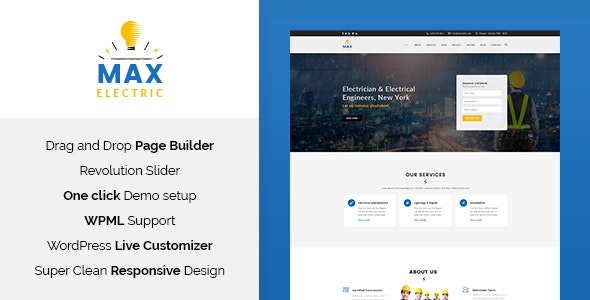 Max Electric - Electrician WordPress Theme - Business Corporate