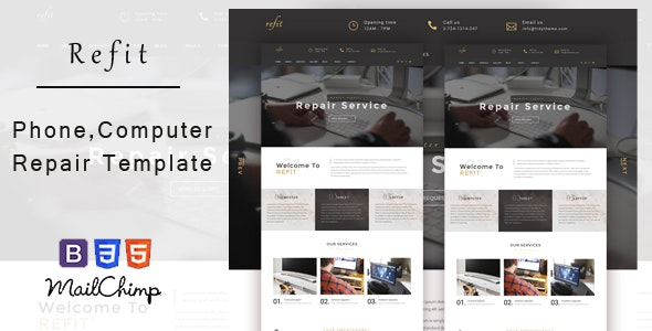 Refit - Phone, Computer Repair Shop  HTML Template - Computer Technology