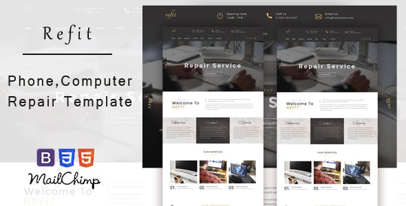 Refit - Phone, Computer Repair Shop  HTML Template