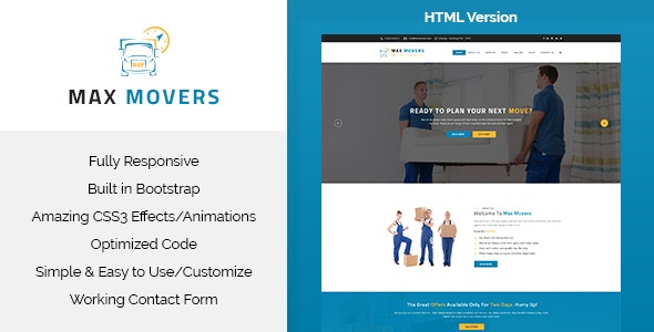 Max Movers - Transport & Movers HTML Template - Business Corporate