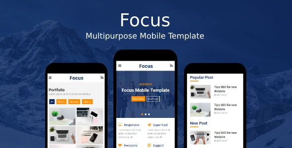 Focus - Multipurpose Mobile Template - Mobile Site Templates