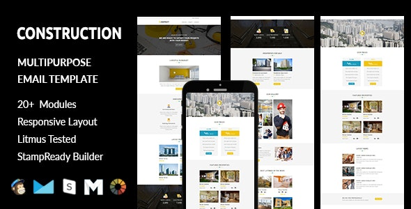 CONSTRUCTION - Responsive Email Template with Stampready Builder Access - Email Templates Marketing