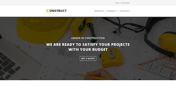 CONSTRUCTION - Responsive Email Template with Stampready Builder Access
