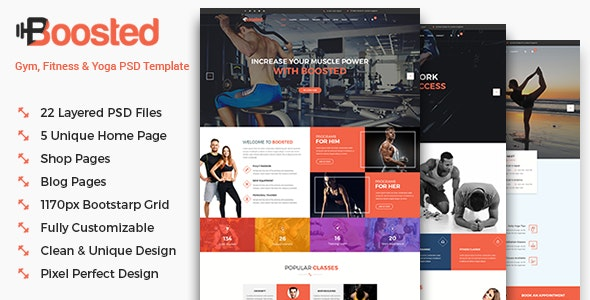 Boosted - Gym, Fitness & Yoga PSD Template - Health & Beauty Retail