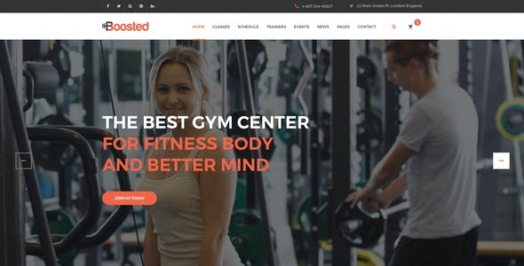 Boosted - Gym, Fitness & Yoga PSD Template