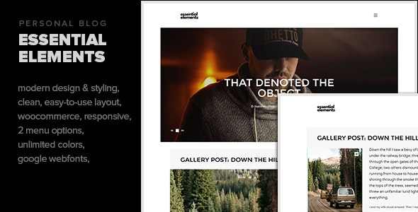 Essential Elements - Creative WordPress theme for writers and bloggers - Personal Blog / Magazine