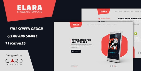 Elara - Full Screen App Showcase PSD Template - Photoshop UI Templates