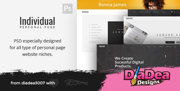 Individual - Personal Page PSD Template - Creative Photoshop