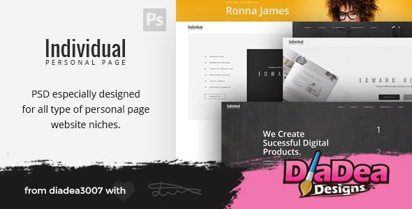 Individual - Personal Page PSD Template