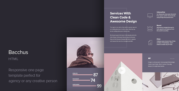 Wspaniały Bacchus - One Page HTML Template by CocoBasic | ThemeForest YM18