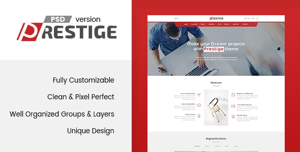 Prestige - Single Page PSD Template - Marketing Corporate