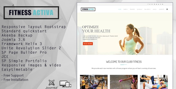 Activa - Theme for Fitness Gym and Fitness Centers - Joomla CMS Themes
