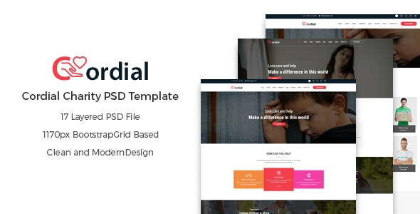 Cordial - Charity PSD Template - Charity Nonprofit