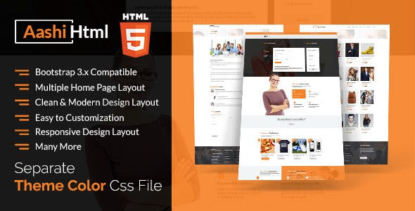 Aashi Multipurpose Responsive HTML Template
