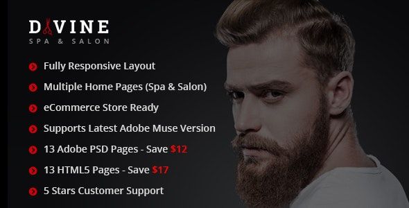 Divine - Salon & Spa Adobe Muse Template - eCommerce Muse Templates