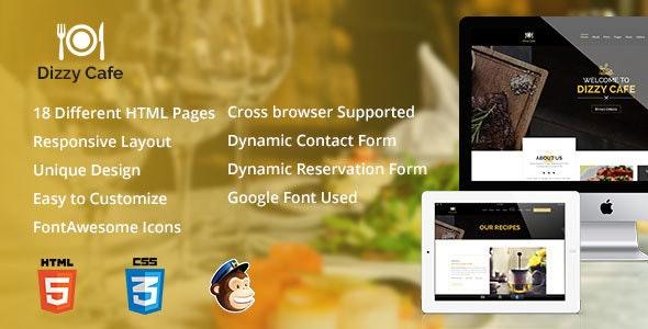 Dizzy Cafe - Responsive Restaurant/Cafe Site Template - Restaurants & Cafes Entertainment