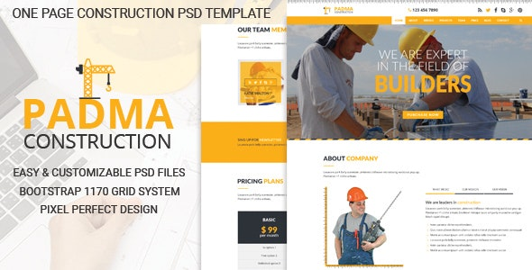 PADMA - One Page Construction PSD Template - Corporate Photoshop