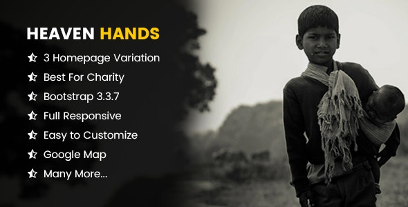 Heaven Hands- Responsive Charity & Fundraising HTML5 Template - Charity Nonprofit