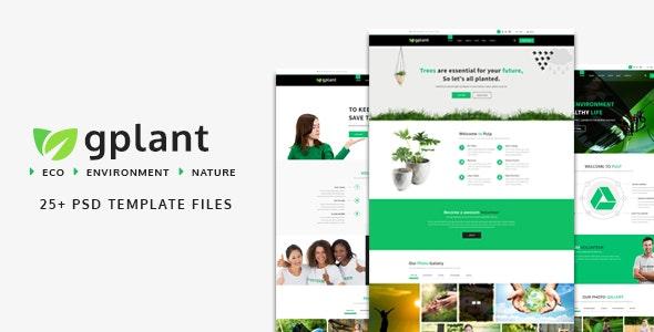 gPlant - Multipurpose ECO, Natural & Environmental PSD Template - Environmental Nonprofit