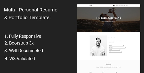 Multi - Personal Resume & Portfolio Template - Portfolio Creative