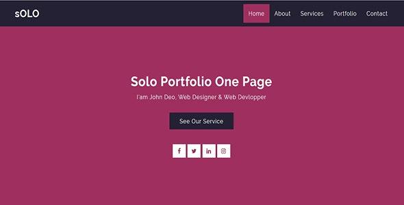 Solo - Portfolio One Page - Personal Site Templates