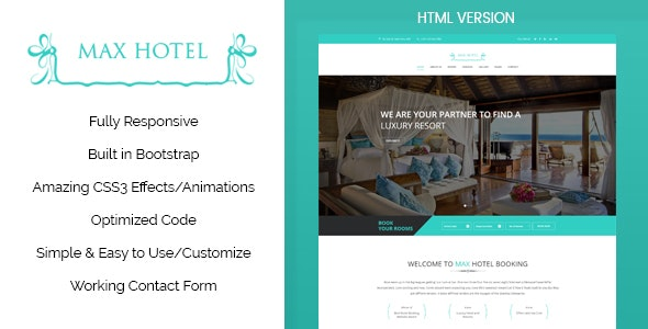 Max Hotel - Responsive HTML Template - Travel Retail