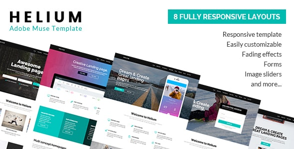 Helium - 8 in 1 Marketing Muse Template - Landing Muse Templates