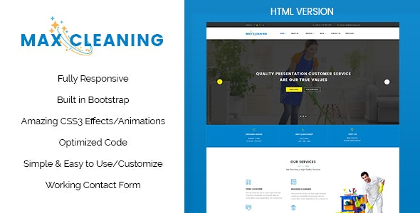 Max Clean - Cleaning Business HTML Template - Business Corporate