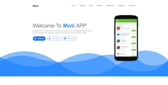 Moti App PSD Landing Page PSD Template