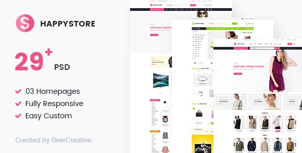 HappyStore | Multi-Purpose Responsive Ecommerce PSD Template - Retail Photoshop
