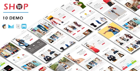 SHOP - Responsive Shopping Email Pack with Online StampReady & Mailchimp Builders - Email Templates Marketing