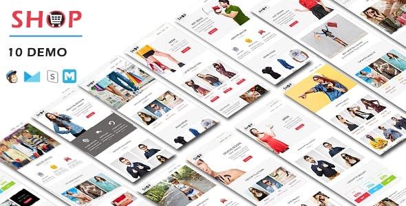 SHOP - Responsive Shopping Email Pack with Online StampReady & Mailchimp Builders