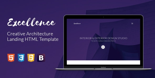 Excellence Creative Architecture Landing HTML Template - Corporate Site Templates