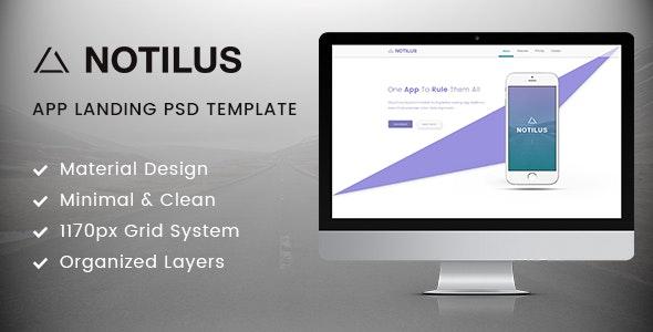 Notilus - Material App Landing PSD Template - Technology Photoshop