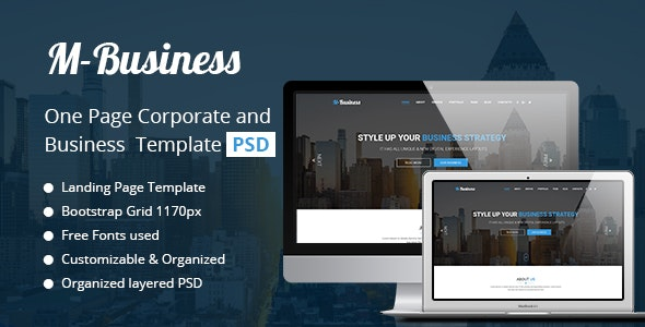 M-Business One Page Corporate and Business Template - Business Corporate