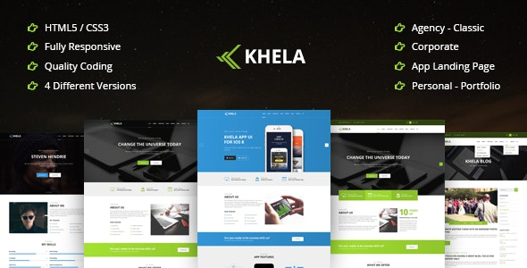 Khela | Business, Portfolio, App Landing Page Template - Business Corporate