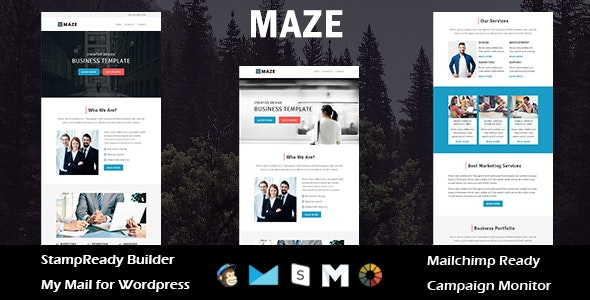 Maze - Multipurpose Responsive Email Template + Stampready Builder - Email Templates Marketing