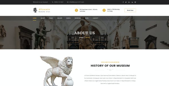 Alicante - Museum PSD Template