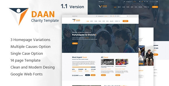 DAAN - Charity Non-Profit PSD Template - Charity Nonprofit