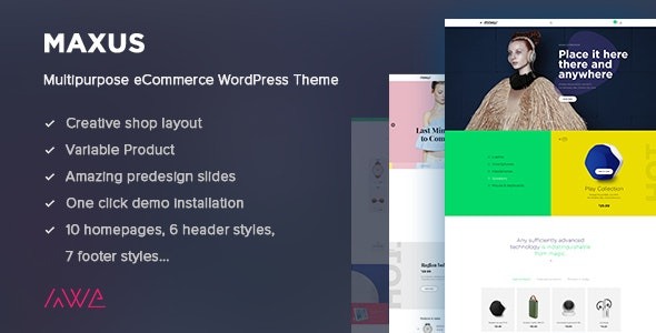 Maxus - Multipurpose eCommerce WordPress Theme - WooCommerce eCommerce