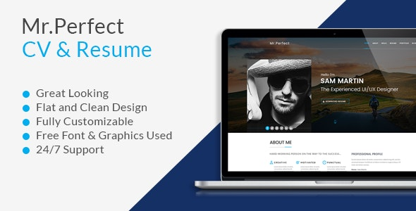 Mr.Perfect Resume PSD Template. - Photoshop UI Templates