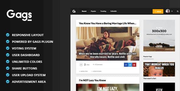 Gags - Image, Meme & Video Sharing WordPress Theme