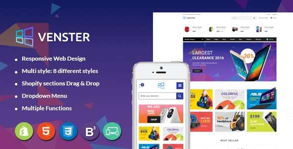 Venster - Computer Store Sectioned Responsive Shopify Theme - Technology Shopify