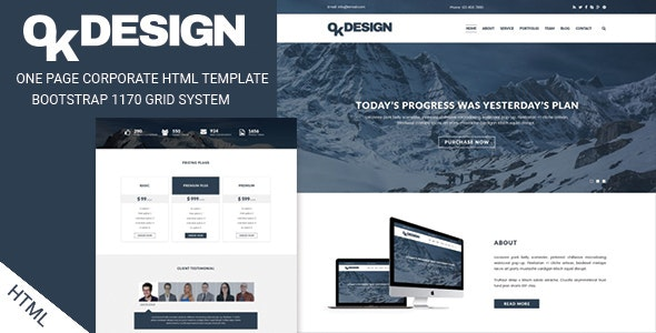 OkDesign - One Page Multipurpose Html Template - Business Corporate