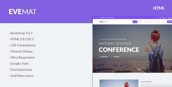 EveMat | Responsive HTML Event Template - Events Entertainment