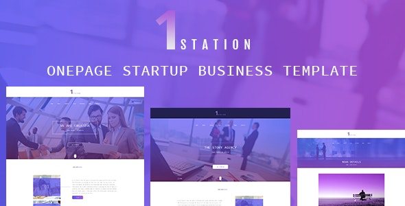 1STATION- One Page Startup Business Template - Creative Photoshop