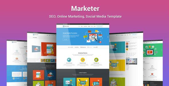 Marketer - SEO, Online Marketing, Social Media Template - Marketing Corporate