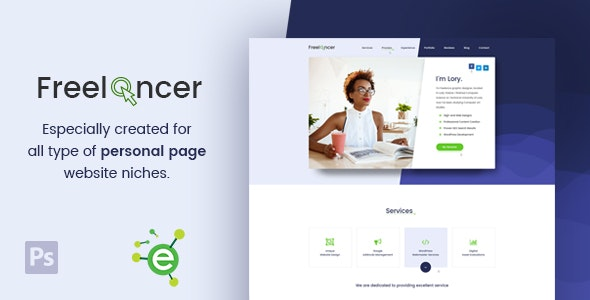 Freelancer - Creative Business & Portfolio Personal Page PSD Template - Portfolio Creative