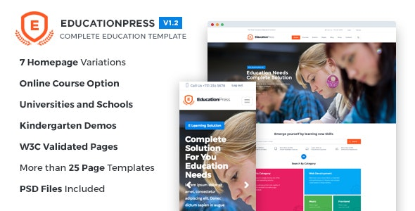 EducationPress - Complete Education Template - Corporate Site Templates